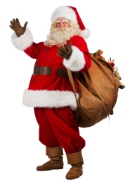 Real Santa Claus carrying big bag full of gifts, isolated on whi
